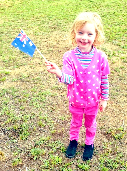 Julia waving the Australian Flag
