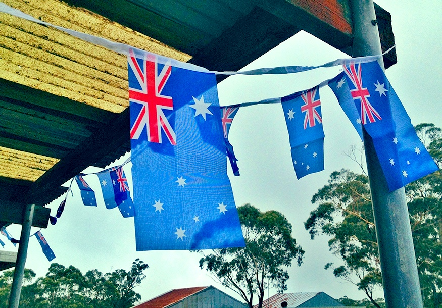 The Katoomba Airfield decorated for the Australia Day BBQ.