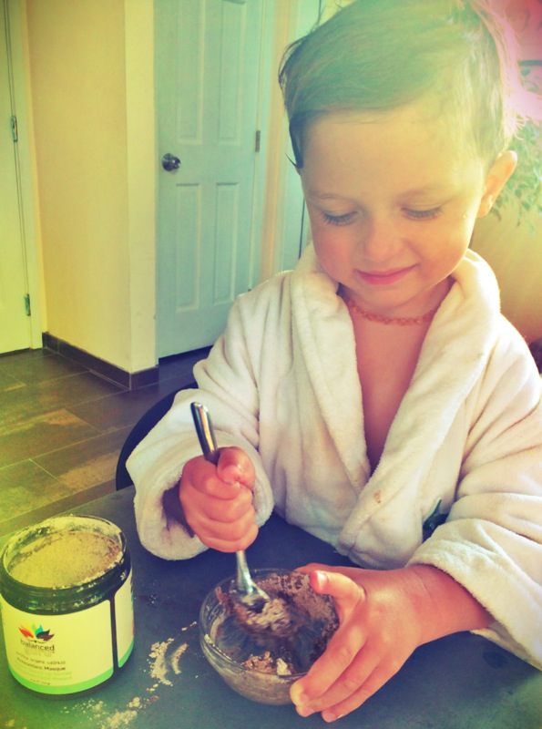 My little rainbow mixing my masque up for me with some vegan coconut yogurt